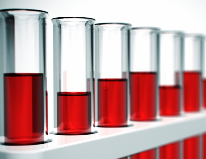 test tubes with red liquid